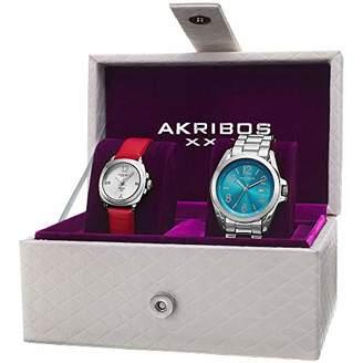 Akribos XXIV Women's Watch Set - 2 Stylish Watches One Leather Band 1 Stainless Steel With Beautiful Gift Box - AK821