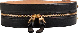 Barbara Bui Black Leather Zipper Waist Belt 36