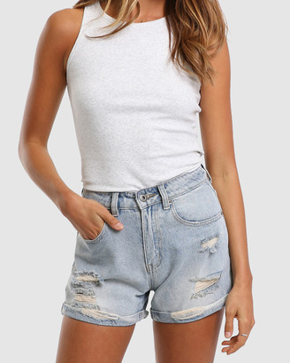 Madison The Label - Women's Blue High-Waisted - Jimmy Shorts - Size One Size, 6 at The Iconic