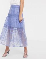 Asos Design DESIGN embroidered midi skirt with belt detail in blue