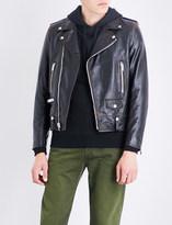 Saint Laurent Smoking Lips-print leather jacket