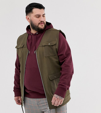 Asos Design DESIGN Plus jersey utility gilet with pockets in brown