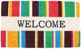 J & M Home Fashions Welcome Stripes Vinyl Back Coco Doormat, 18-Inch by 30-Inch