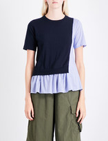 Izzue Contrast-panel knitted and poplin cotton top