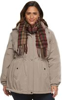 Gallery Plus Size Hooded Anorak Jacket & Scarf Set