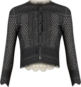 Alexander McQueen Lace-jacquard cropped cardigan