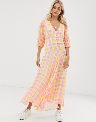 Ghost check print midi dress with puff sleeves