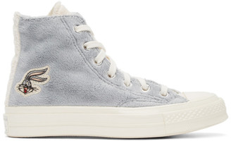 Converse Grey and Off-White Looney Tunes Edition Chuck 70 High Sneakers