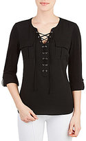 Peter Nygard V-Neck Lace Up Mixed Media Shirt