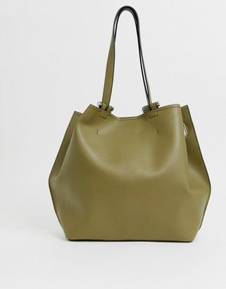 Asos Design DESIGN bonded shopper bag with reverse seam detail-Green