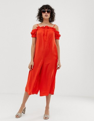 Lost Ink Cold Shoulder Jumpsuit With Button Front And Frill Trim-Orange