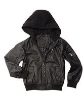 Urban Republic Black Faux Leather Hooded Jacket - Boys