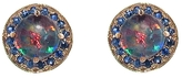 Andrea Fohrman Opal Doublet Stud Earrings with Blue Sapphires - Yellow Gold