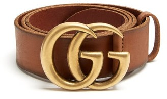 Gucci GG Leather Belt - Mens - Brown