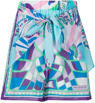 Emilio Pucci Abstract Print Cotton-Blend Shorts