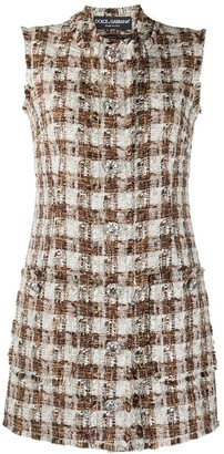 Dolce & Gabbana Checked Tweed Shift Dress