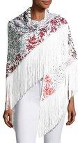 Missoni Floral Crochet Fringe Shawl, White