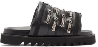 Toga Embellished Leather Slides - Black