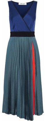 Diane von Furstenberg Color-block Satin And Pleated Mesh Wrap Dress