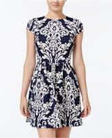 B. Darlin Juniors' Printed Scuba Fit and Flare Dress