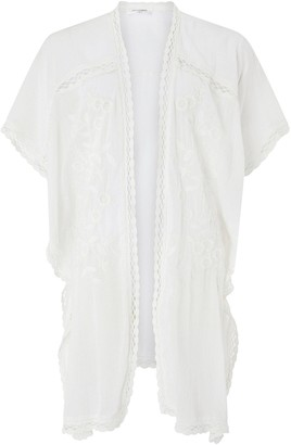 Accessorize Sleeved Lace Long Kimono - Cream