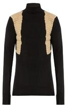 Rick Owens Contrast-panel Roll-neck Wool-blend Sweater