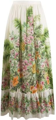 Twin-Set Jungle-print maxi skirt