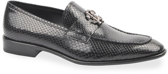 Roberto Cavalli Men's Lizard-Print Signature Loafers