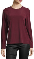 AG Jeans Long-Sleeve Silk Blouse, Wine