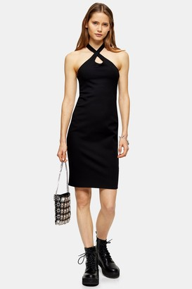 Topshop Womens Black Cross Halter Neck Bodycon Midi Dress - Black
