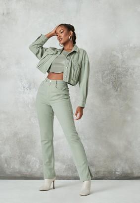 Missguided Sage Co Ord Wrath Split Hem Jeans