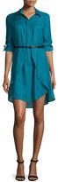 Halston Long-Sleeve Belted Shirtdress, Atlantic