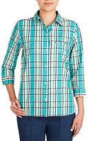 Allison Daley Y-Neck Plaid Print Button-Front Woven Shirt