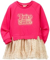 Juicy Couture Heathered French Terry Sweatshirt Glitter Dot Mesh Skirt Dress (Toddler Girls)