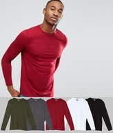 Asos 5 Pack Long Sleeve Crew Neck T-Shirt SAVE