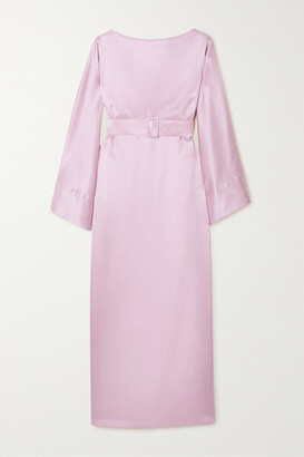 BERNADETTE Jackie Belted Silk-satin Midi Dress - Pink