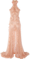 Alexander McQueen Ruffled bead-embellished chiffon and lace gown