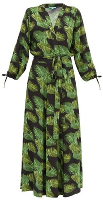Melissa Odabash Margo Palm-print Tie-cuff Dress - Black Print