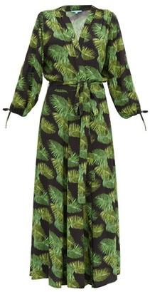 Melissa Odabash Margo Palm-print Tie-cuff Dress - Womens - Black Print