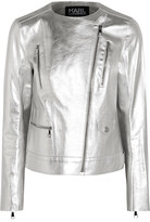 Karl Lagerfeld Metallic Textured-leather Biker Jacket - Silver