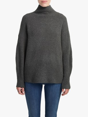 French Connection Flossy Funnel Neck Textured Jumper, Ink Metallic Green