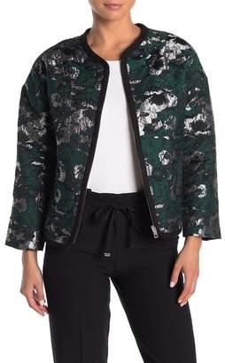 FRNCH Elbow Sleeve Metallic Print Jacket