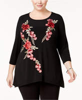 JM Collection Plus Size Embroidered Tunic, Created for Macy's