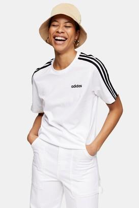 adidas Womens White Three Stripe T-Shirt By White