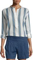Vince Multi-Striped Silky Henley Shirt