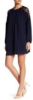 Astr Lace Shoulder Long Sleeve Shift Dress