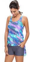 Foryingni Women's 2 Piece Printed Tankini with Board Shorts Swimsuit 2XL