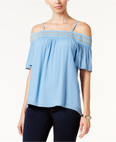 Thalia Sodi Crochet-Trim Off-The-Shoulder Top, Only at Macy's