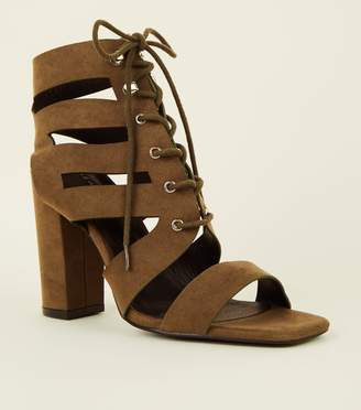 New Look Suedette Lace Up Ghillie Block Heels