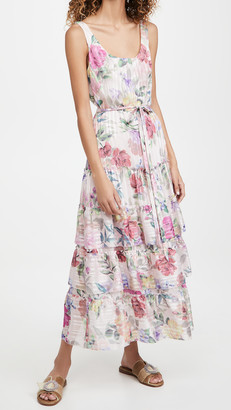 Marchesa Notte Printed Sleeveless Square Neck Dress